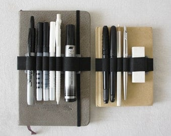 Christmas Present PEN-HOLDER Band, A5 or A6 or A4 felt + elastic pencil case, pens holder Moleskine, Cahier Journal or Agenda