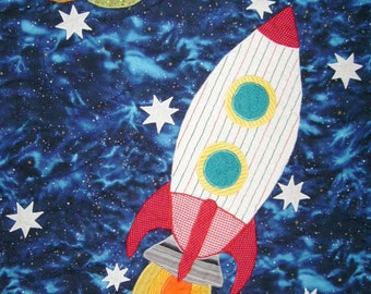 Full size quilt etsy for Outer space quilt patterns