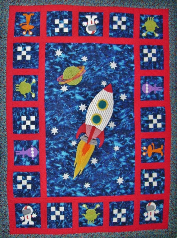 Baby quilt crib quilt applique quilt pattern quilt for Outer space quilt patterns