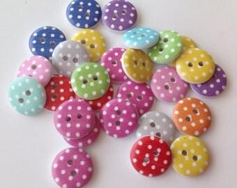 20 x polka dot button 15mm