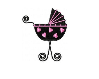 Baby Carriage Embroidery Design - INSTANT DOWNLOAD