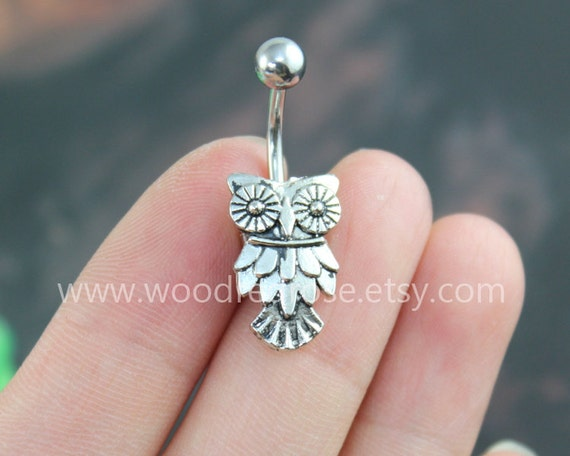 Owl Belly Ring Owl belly button ringSilver Owl Navel