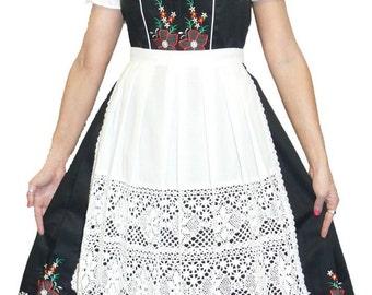 3-Piece Long Black German Dirndl Dress 2 4 6 8 10 12 14 16 18 20 22 24 XS S M L XL