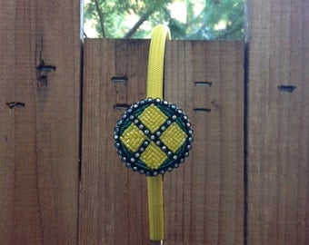 Green and Yellow Beaded Headband