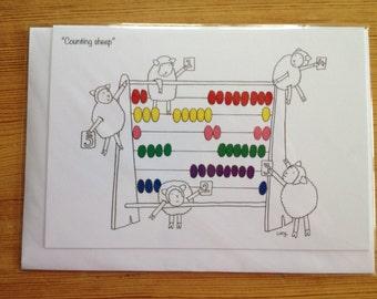 Counting Sheep Greetings card