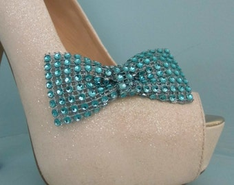 Beautiful Handmade Turquoise Diamante Style Bow Shoe Clips.