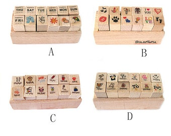 Wooden Rubber Stamp Set - Rubber Stamp Set - Diary Stamps - 4 styles can be chosen