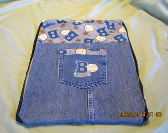 Recycled Blue Jean Cinch Sack Backpack: Item #50