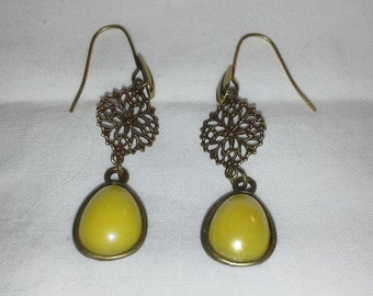 Vintage Design Yellow Dyed Jade Earrings = E111