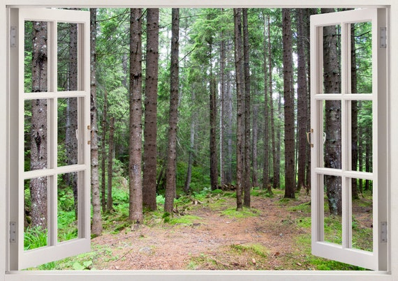 Forest Vinyl Wall Decal Tree Wall Decal Tree D Window Wall - 3d window wall decals