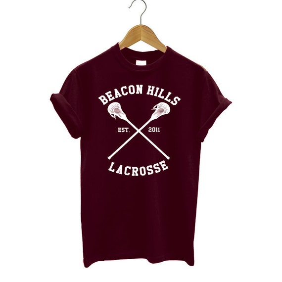 BEACON HILLS Lacrosse Team maroon t-shirt loose fit top teen wolf tee
