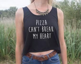 Pizza Can't Break My Heart Crop Tank Top Blogger Grunge Fangirl