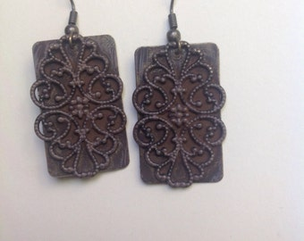 Vintage paisley print stamp earrings