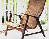 Early Antique Danish Hans Wegner attributed Lounge Chair, Cane & Teak