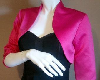 Pink Satin Bolero / Shrug / Cropped Jacket Fully Lined - UK 4-26/US 1-22 3/4 Sleeves - Formal/Wedding/Bridal