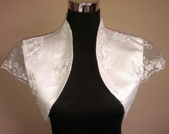 Lace & Satin Bolero / Shrug / Wedding Jacket / Wrap Fully Lined - UK 4-26 - Colours available : Ivory, White