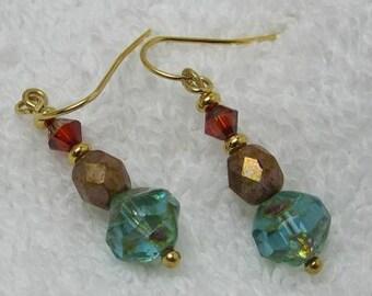 aqua & red glass earrings