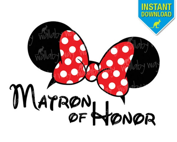 Disney Wedding Matron Of Honor Minnie Ears Printable Iron On