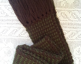 Plaited Basketweave Brown and Green Women's Long Scarf