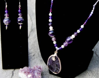 Amethyst Pendant with Wire Swirl and Earrings Set