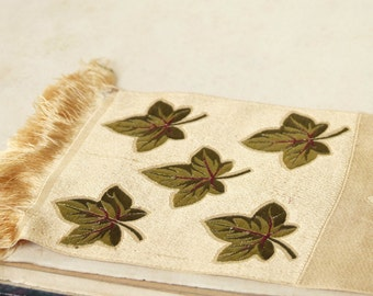 Antique 19C French jacquard gold silk, autumn ivy leaves, green & red accent, leaf relief, fringe embroidery, fall decor, collector fabric