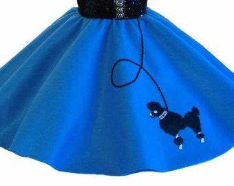 Blue 50's POODLE SKIRT for CHILD 4 5 6 7 8