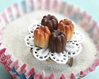canelles pastry ring- miniature food jewelry, paris inspired, food ring