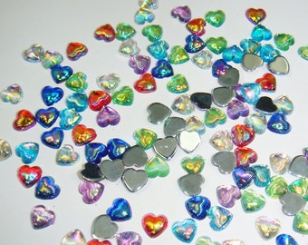 100pcs x 6*6mm NEW Mixed Colors Heart Shape Resin Glitter Gem Rhinestones for Nail Art Decoration