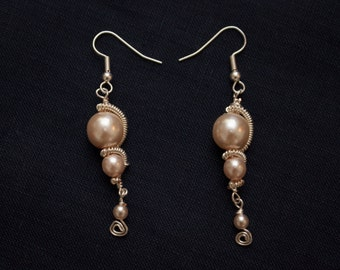 Large Pale Pink Pearlescent Earrings