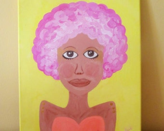 Pink Afro Pop Art Whimsy Painting African American Original