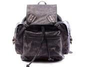 """19""""Men Retro Leather Backpack vintage particular genuine leather backpack, student laptop backpack,school backpack,Travel backpack-N034"""