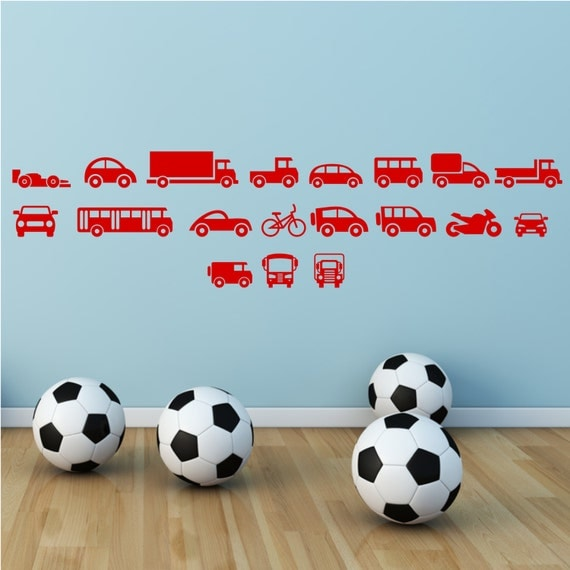 Jouets voitures motos camions gar ons filles chambre wall art for Pochoir chambre garcon