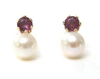 Solid 9ct Gold Cultured Pearl and Ruby Stud earrings S521