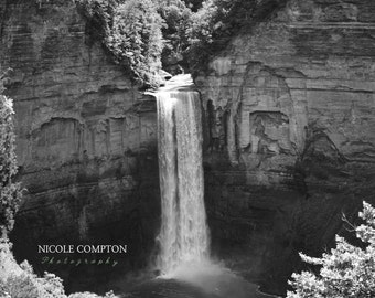 Waterfall Photography, Taughannock Falls, Ithaca, Gorge, Artwork, Black and white, New York, Texture, Contrast