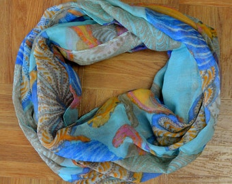 Blue Orange Seashell Corch Light Weight X-large Infinity Scarf Loop Cowl