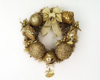 The All that Glitters is Gold Hand Crafted Christmas Wreath: OOAK Home Decor