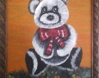 Free Shipping Mexican oil original painting of teddy bear