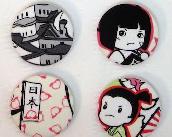 Momotarou Fabric Buttons (set of 4)