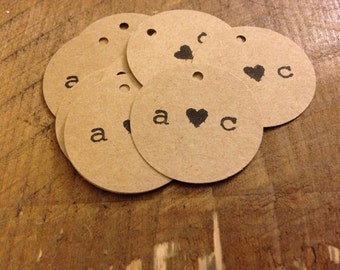50 Custom Hand Stamped Initial Wedding Tags-- For bubbles, gifts, invitations, etc!