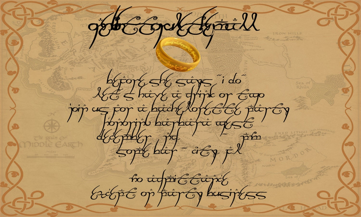 Lord Of The Rings Wedding Invitations Part One