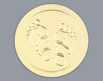 Round Gold Baby Footprint Stickers Envelope Seals(Pack of 50)