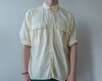 M Cream Industrial Soft Cotton Button Up Long Sleeve Shirt