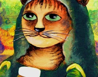 "Canvas print ""Mona Lisa Cat"" 18x24 cm 15 Euro (regular price 20 Euro)"