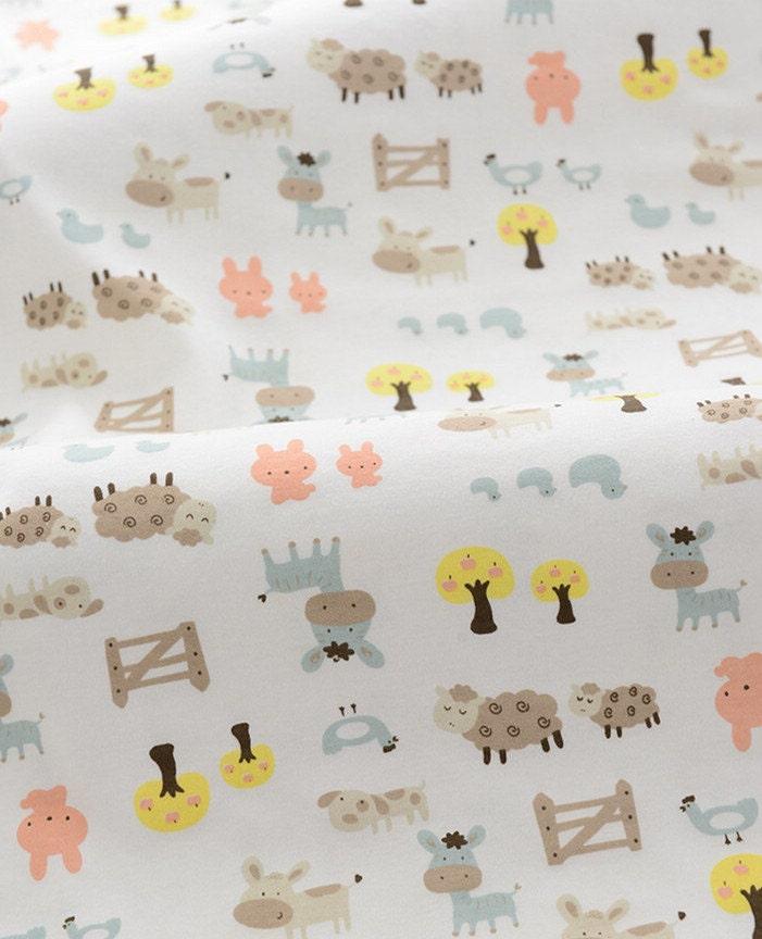 Cute baby knit fabric animal farm design knit fabric kid 39 s for Cute baby fabric