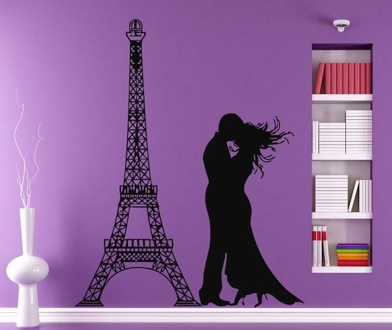 paris wall decals kiss stickers eiffel tower by decalmyhappyshop. Black Bedroom Furniture Sets. Home Design Ideas
