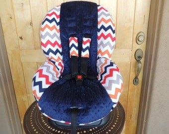 SALE - Britax Marathon Toddler Car Seat Cover Multi chevron, navy minky center- SHIPS TODAY!