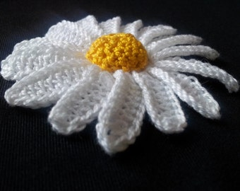 DAISY chamomile 1 psc cotton flower APPLIQUE c handmade for YOU with love