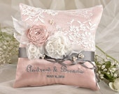 Lace Wedding Pillow,  Ring Bearer Pillow Embroidery Names, Peach Satin, Lace Grey ribbon