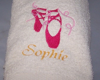Personalised embroidered Ballet Shoes bath towel (100% cotton)