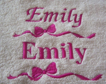 Personalised embroidered  bath towel with your name and a bow(100% cotton)
